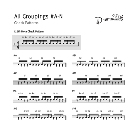 All 16th note groupings  a n