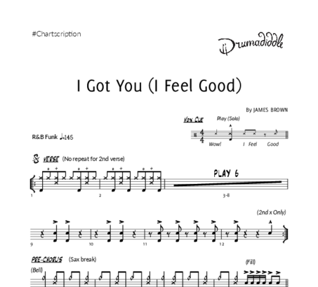 I got you %28i feel good%29   drum chart